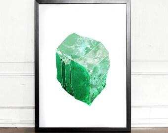 Emerald Print, Natural Crystal, Gemstone, Stone Art, Mineral Print, Emerald Green
