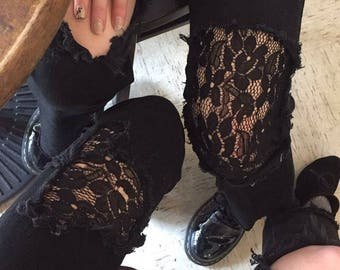 coming soon- repurposed black jeans with black lace