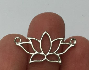 5 Lotus Flower Connector Charms Silver Tone 26mm x14mm - SC2019
