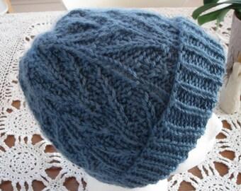 Knit Hat, Blue, Women, Teen, Girl.