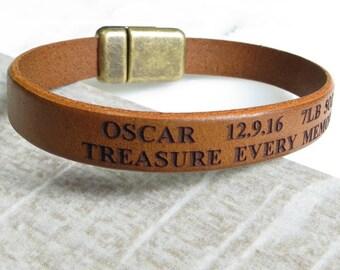 Engraved Leather Bracelet