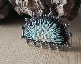 Embroidered Brooch Handmade Bead Pin Grey Felt Brooch Minimalistic Jewelry Seed Bead Brooch Handmade Brooch Beadwork Jewelry One of a kind