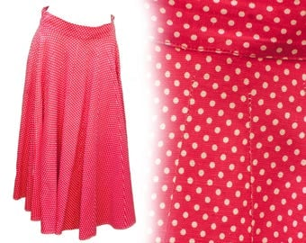 1950s Medium Skirt Red White Polka Dot Pin Up A Line Circle Minnie Mouse Retro Rockabilly Greaser Swing Cry Baby Psychobilly Wanda Woodward