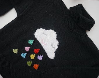 Knitted sweater for kid. Knit kid sweater