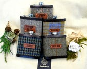 Set of five Barn or Rustic wedding gifts Harris Tweed hip flasks with leather labels usher groomsman best man  father of the bride or groom