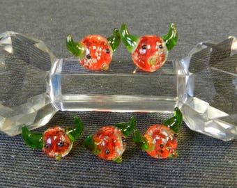 Set of 5 Orange and Green Cattle Head Lampwork Glass Beads - 10mm - Handmade - Cow, Longhorn, Devil, Demon