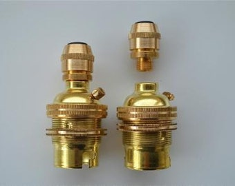 Pair of UK made brass B22 bayonet bulb holder 10mm SR7