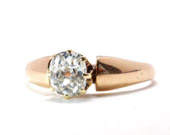 Engagement Ring   Antique   Rosy Gold   Old Mine Cut Diamond   Victorian   Unique   Item 77817