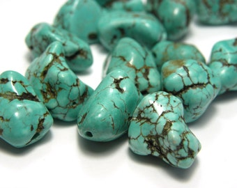 Turquoise Nugget Real Gemstone 14 - 18 mm (10 pc.)
