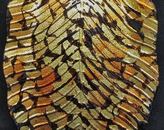 Large Art Glass Banana Leaf Tray, Bronze Gold Luster