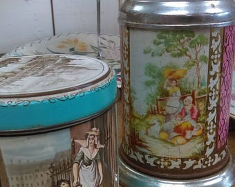 Pretty little vintage printed lidded tin for tea or sweets