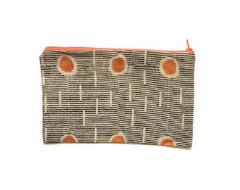 Block printed & painted linen pencil case