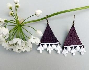 Statement leather and lace Earrings - boho earrings - chandelier earrings - unique jewelry