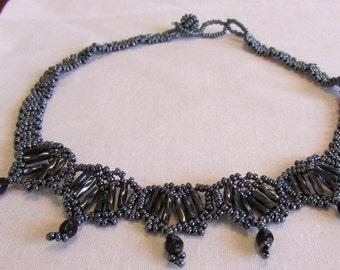 Pretty Hematite Look Glass Bead  Choker Necklace