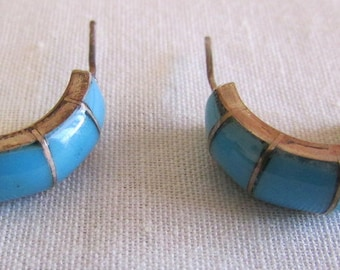 Sterling Silver and Turquoise Hoop Earrings