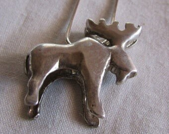 Sterling Silver Moose Necklace