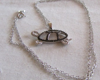 Sterling Silver and Black Faceted Stones Turtle Necklace