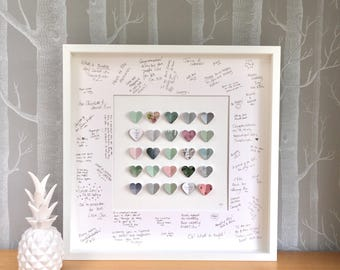 Guest book alternative. Guest book wedding. Sage green pink wedding. Personalised guest book. Guest book ideas. Personalised wedding frame.