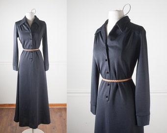 1970s Boho Maxi Dress, Black Dress, Bohemian Dress, Long Dress, 70s Dress, Hippie Dress, Minimalist Fashion, Modest Fashion, Retro Dress,