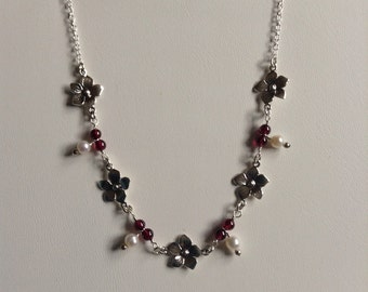 Sterling Flower and Gemstone Necklace