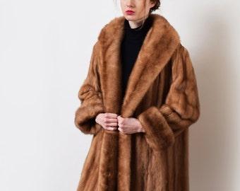 1960s Honey Mink Fur Coat 60s Vintage Real Fur Swing Coat Mod S M L