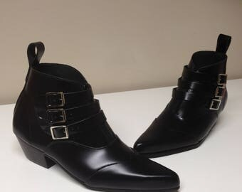 3 Buckle Beat Boots in Black Leather