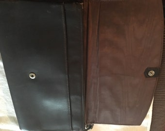 Vintage brown leather clutch bag purse