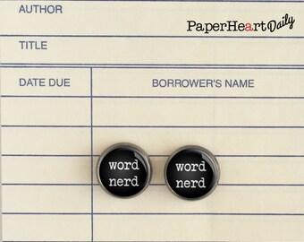 Word Nerd Earrings - Book Lover Earrings - Reader Earrings - (H4408)