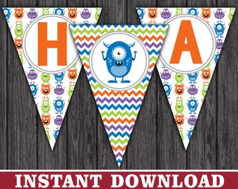 Monster Happy Birthday Banner - Little Monster Party Decorations - Printable Digital File - INSTANT DOWNLOAD