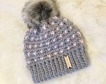 Fairisle hat, Crochet chunky hat, crochet baby hat, Pompom hat, Crochet toddler hat, Crochet children's hat, Crochet women's hat