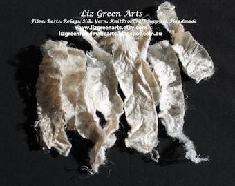 Silk Carrier Rods, Sericin Full ~ Natural Spinning Embellish Fibre Art Silk Paper Making Craft Supplies Liz Green Arts Textiles