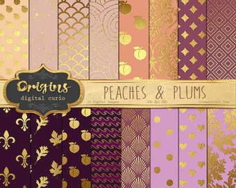 Peach Digital Paper, Plum Digital Paper, Peaches and Plums with Gold Foil Patterns, Backgrounds, ...