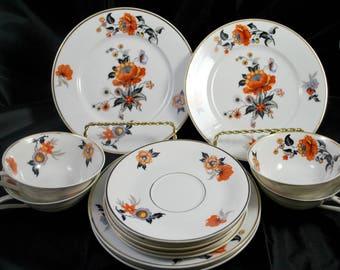 Limoges Porcelain Dinnerware Set ,  Art Deco ,  Orange and Black , Tea Cups and Saucers ,  Dessert Plates , Serving 4 , 1920