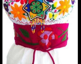 Mexican hand EMBROIDERED Folk art multi color floral belt Boho cinto sash mexico