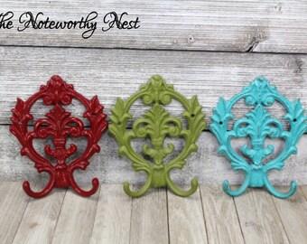 CHOOSE ANY COLOR Fleur De Lis hook / cast iron hook /  coat hook / towel hook / cast iron fleur de lis // key hook / coat / cast iron hook