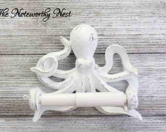 ANY COLORS Octopus Toilet Paper Holder // bathroom decor // nautical decor // nautical bathroom / sea theme bathroom / white Octopus