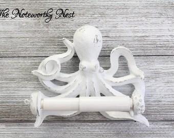 CUSTOM COLORS Octopus Toilet Paper Holder // bathroom decor // nautical decor // nautical bathroom / sea theme bathroom / white Octopus