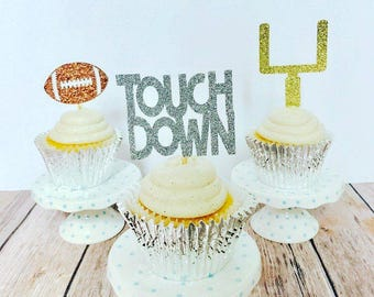 Football Cupcake Toppers/ football party cupcake toppers/ football baby shower