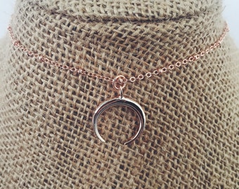 Rose Gold Half Moon Necklace
