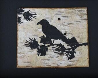 crow painting,raven painting,blackbird painting on birch bark,birch bark art,raven art,framed birch bark,birch bark painting,framed crow art