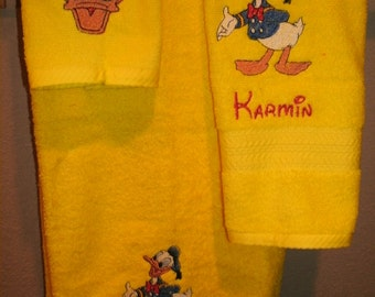 Donald Personalized  3 piece Towel Set Bathtowel, Handtowel, & Washcloth  Any Color