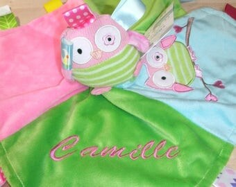 Owl Taggie Personalized  Animal Security Blanket Blankie.. Custom Made Any Name & Color EMBROIDERED