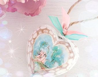 New!!! Shabby Chic Chunky Wooden Glitter Mermaid Heart...