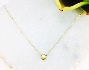 Simple 14K solid gold round curved bean pendant necklace bean necklace RCB-N1007