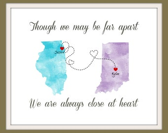 Best Friend Long Distance Present, Going Away Gift for BFF, Sister Gift, Birthday Gift for Grandma, Two-State Personalized Map - 70677
