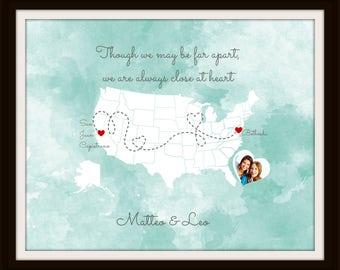 Birthday Gift for Grandma, Gift for Grandparents, Long Distance Map Print, Mothers Day Gift, Best Friend Long Distance Present - 49477B