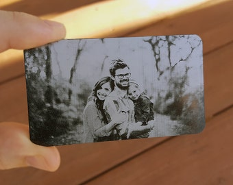 Photo Metal Wallet Card, Custom Wallet Insert, Engraved Wallet Card: Permanently Engrave Your Own Photo on High Quality Metal Wallet Cards!
