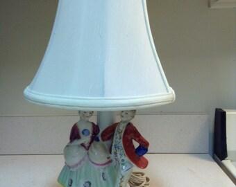 Victorian Couple Statue Boudoir Table Lamp ** Ceramic Electric Vanity Table  Lamp ** Victorian