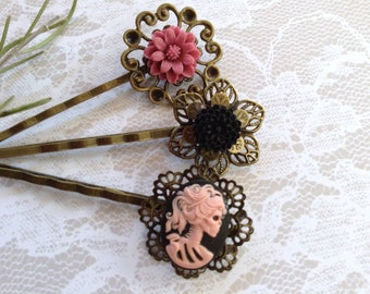 Pink On Black She Skull And Cranberry Flower Hair Clips