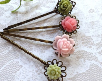 Pastel Floral Hair Clips